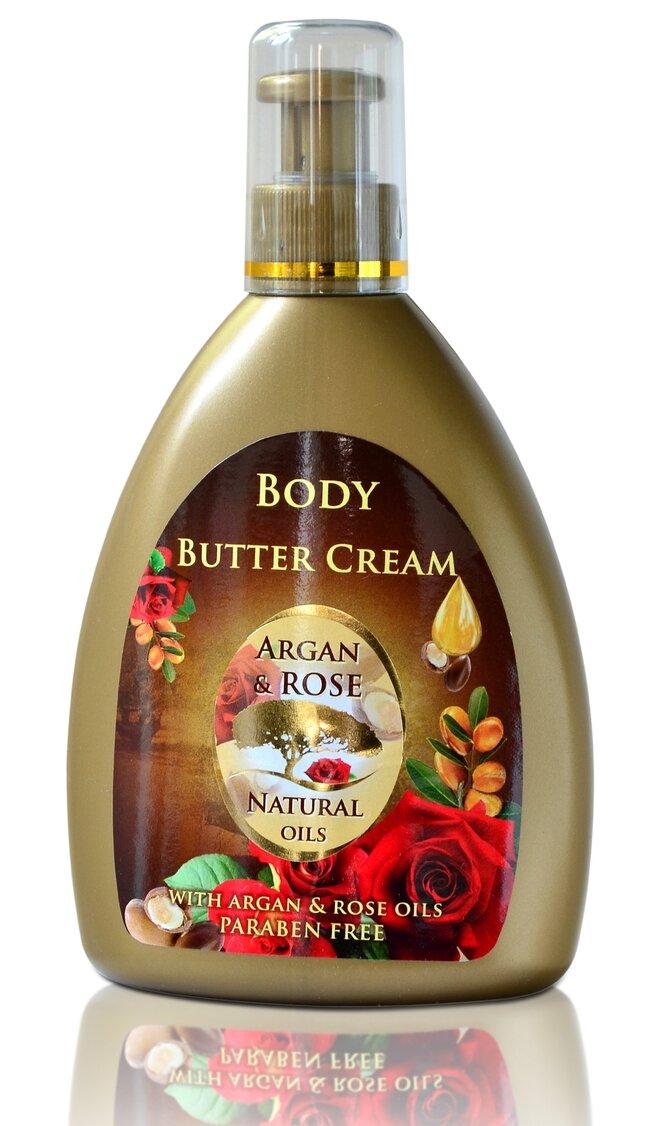 Tělové máslo Argan & Rose Natural Oils, 300 ml
