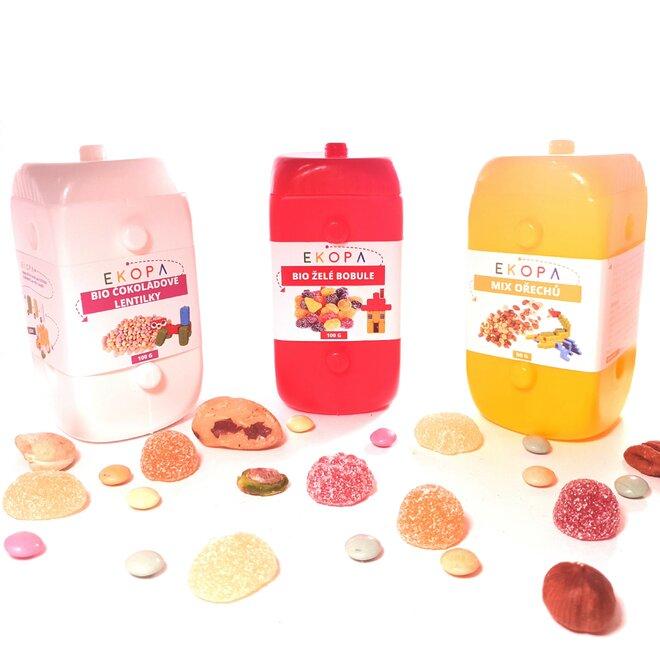Balíček dobrého mlsání (Mix ořechů + Bio lentilky + Bio želé bobule) v EKOPA kostkách