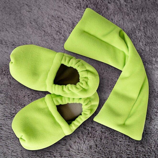 Set (papučky a polštář), zeleno-hnědá