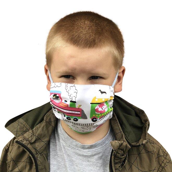 Dětská bavlněná rouška Kašmir RK02 - Mašinky (šňůrky)