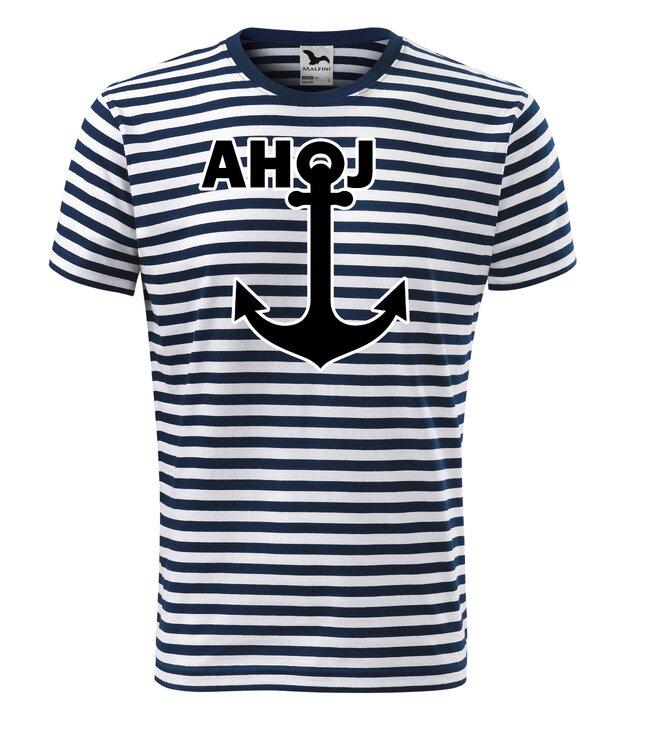Vodácké tričko pruhované/nápis AHOJ