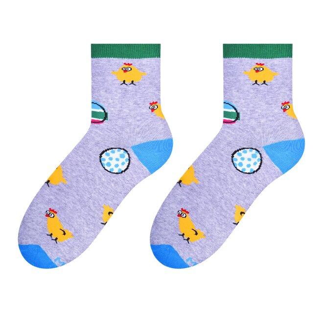 Dámské vysoké ponožky - kuře, vejce