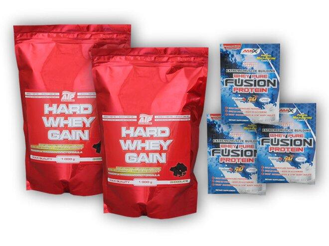 2x Hard Whey Gainer, 1 kg + dárek: 3× Whey Pure Fusion Protein