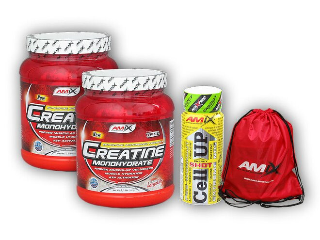 2x Creatin Amix, 500 g + dárek: Amix BAG a CellUp Pre-Workout Shot