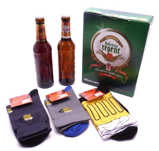 2 piva + 3 páry pivních ponožek
