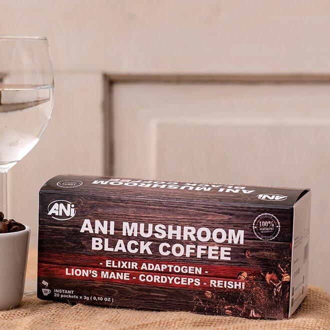 ANi Mushroom Elixír Black coffee with Reishi, Cordyceps Sinensis, Lví hříva