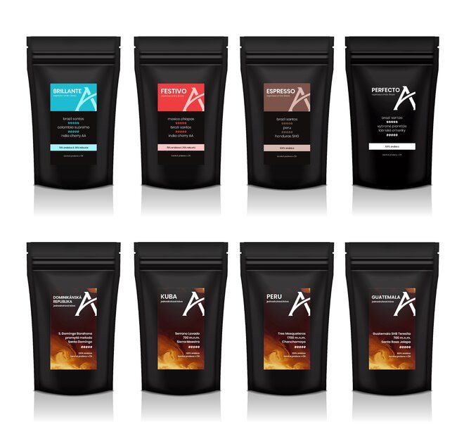 Degustační sada káv Oblíbené, 8× 100 g