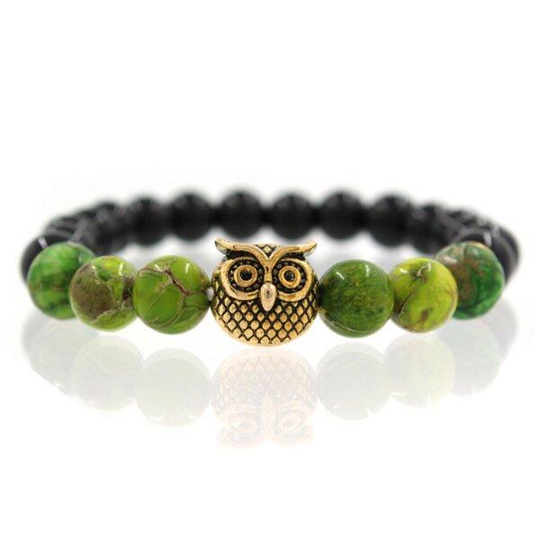 Sova - zelené kameny