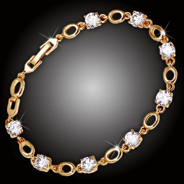 Náramek Diana Gold s třpytivými krystaly