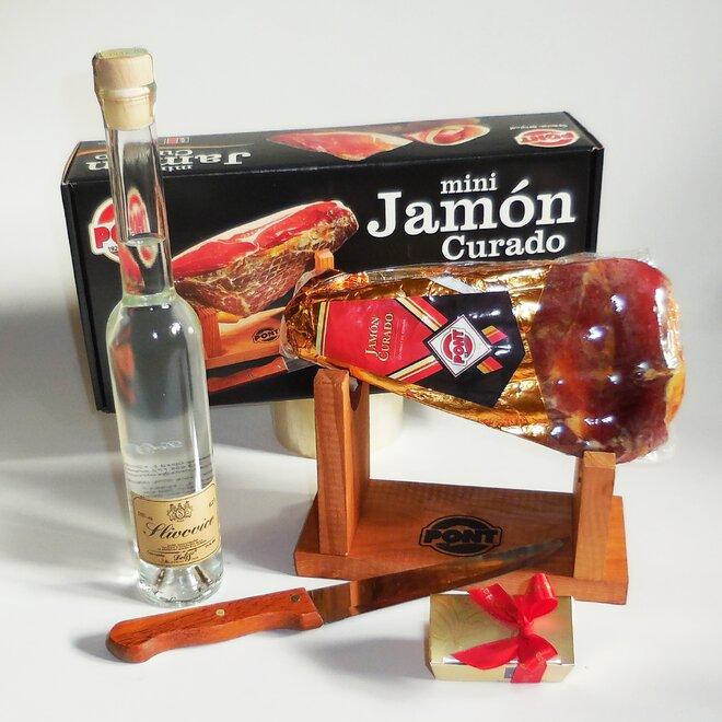Balení šunky Jamón Curado (stojánek, nůž, pralinky, slivovice)