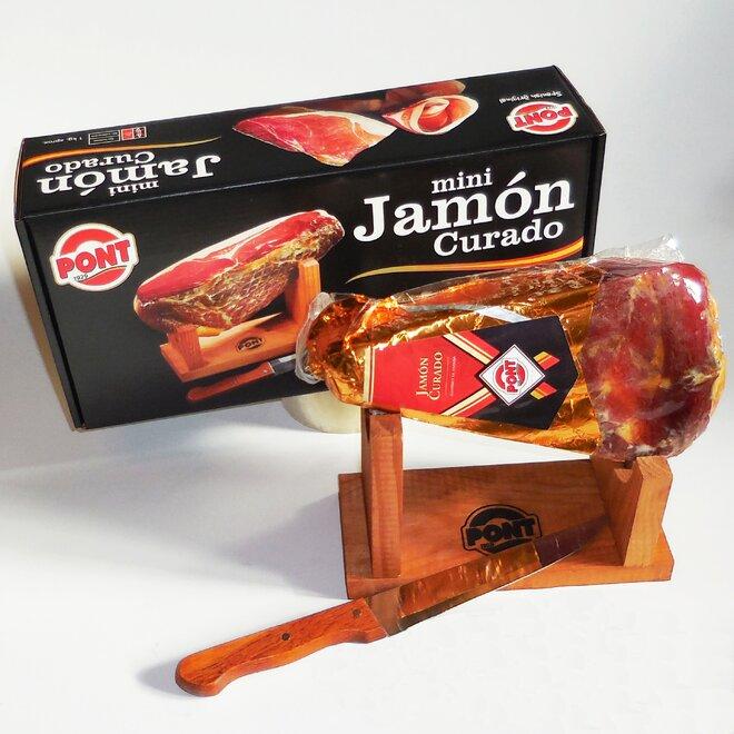 Balení šunky Jamón Curado (stojánek, nůž)