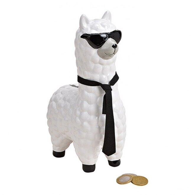 Pokladnička Lama se slunečními brýlemi