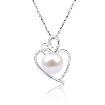 Stříbrný přívěsek s pravou říční perlou dvojité srdce