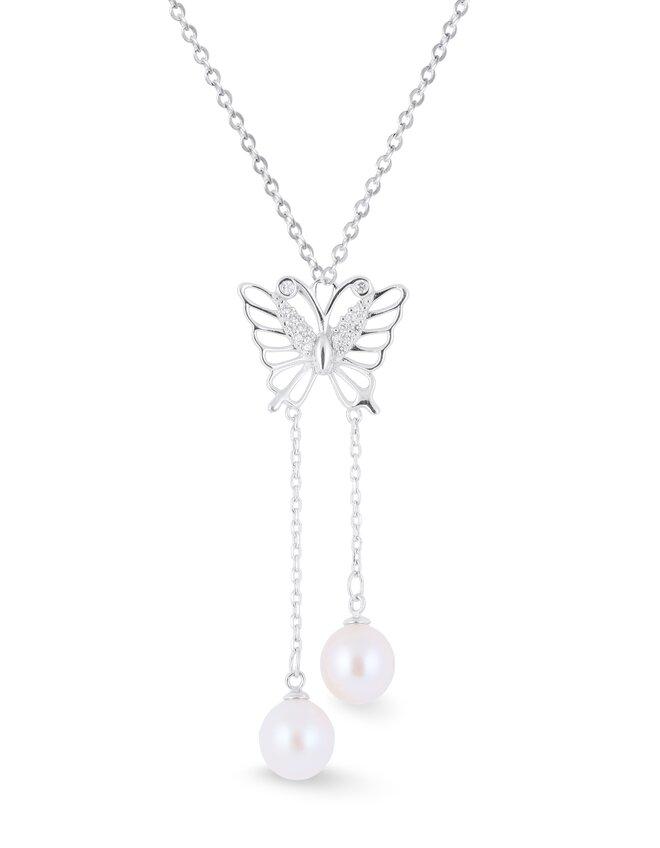 Stříbrný přívěsek s pravou říční perlou motýlek