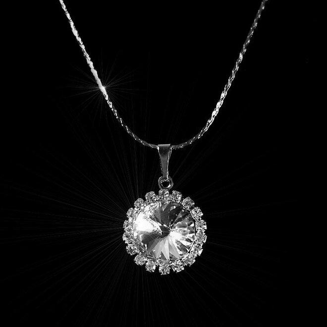 Náhrdelník Kytička s velkým krystalem