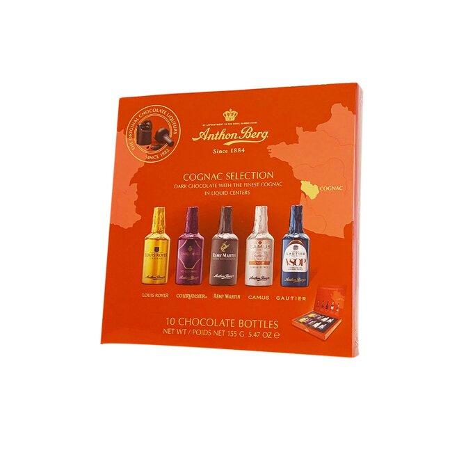 Čokoládové lahvičky s výběrem koňaků, 155 g / 10 lahviček