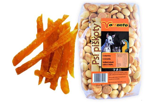 Kuřecí proužky, 80 g + Piškoty s hroznovým cukrem, 120 g