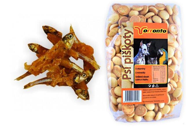 Sušená rybička obalená kuřecím masem, 80 g + Piškoty s hroznovým cukrem, 120 g