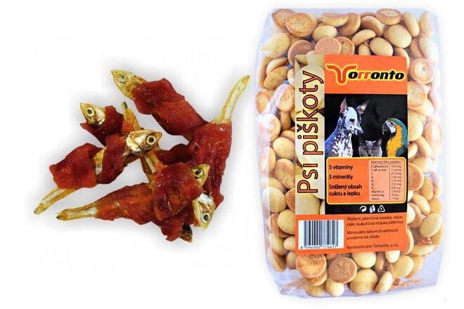 Sušená rybička obalená kachním masem, 80 g + Piškoty s hroznovým cukrem, 120 g