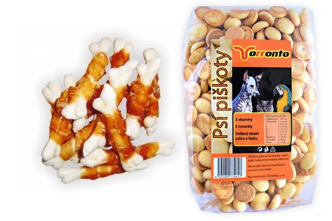 Kalciová mini kostička s kachním masem, 80 g + Piškoty s hroznovým cukrem, 120 g