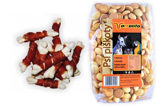 Kalciová mini kostička s kuřecím masem, 80 g + Piškoty s hroznovým cukrem, 120 g