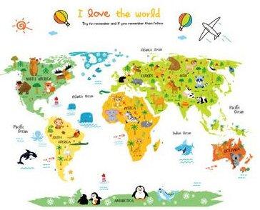 Dětské samolepky na zeď - Mapa světa