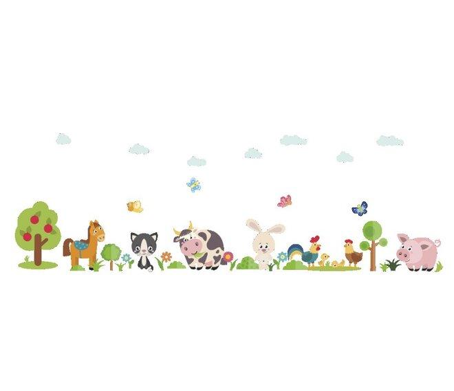 Dětské samolepky na zeď - Domácí zvířátka na dvorku
