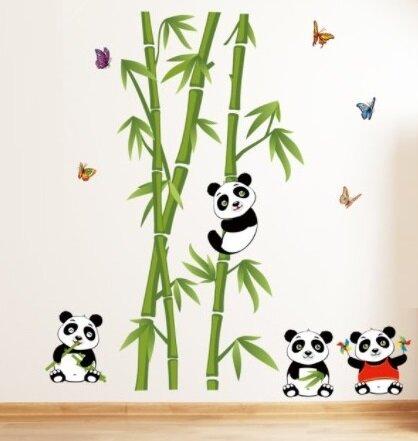 Dětské samolepky na zeď - Pandy na bambusech