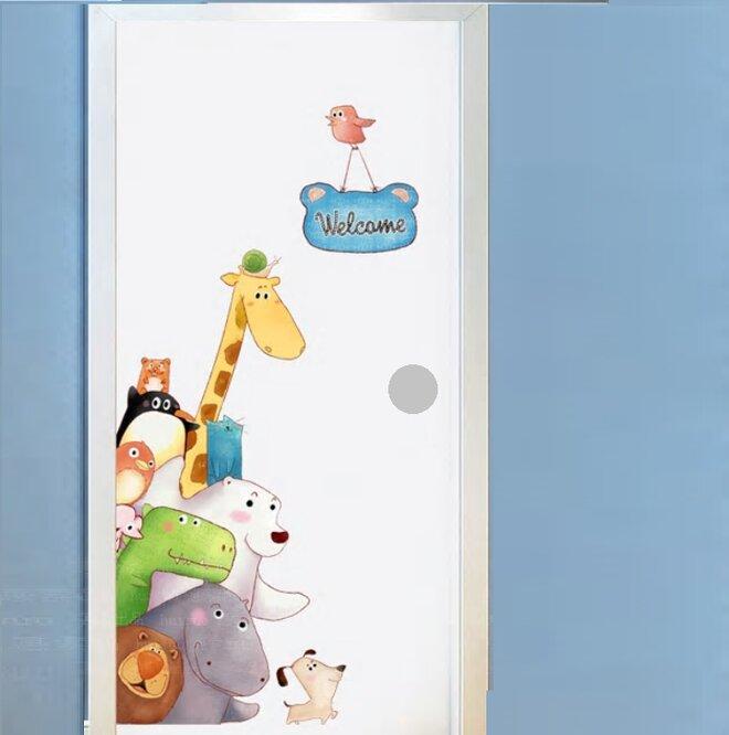 Dětská samolepka na zeď - Zvířátka na dveře