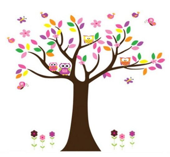 Dětské samolepky na zeď - Strom duhový s ptáčky