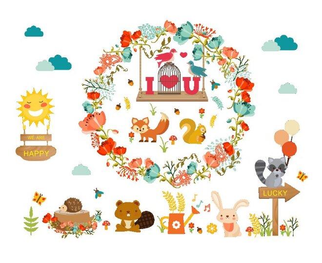 Dětské samolepky na zeď - Miluji přírodu a zvířátka