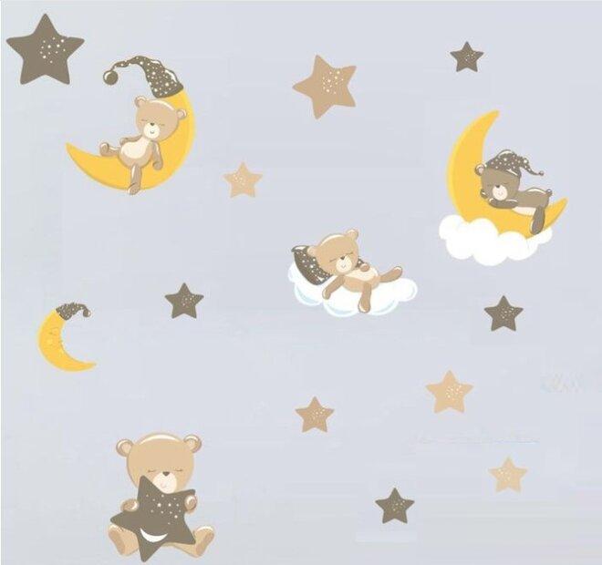 Dětské samolepky na zeď - Spící medvídci