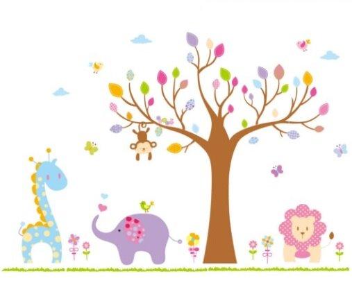 Dětská samolepka na zeď - Velký strom barev a zvířátka