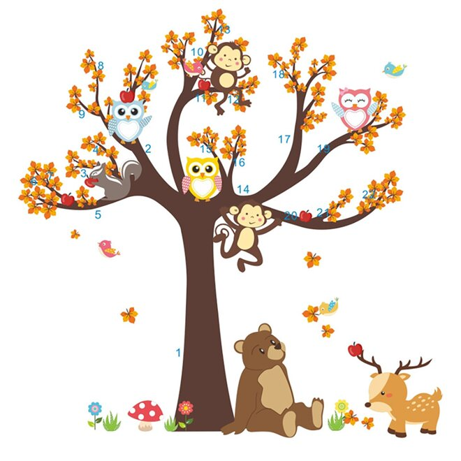 Dětské samolepky na zeď - Strom lesní, medvěd a sovičky