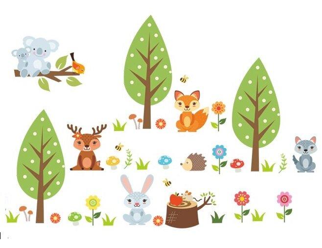 Dětské samolepky na zeď - Lesní království zvířátek