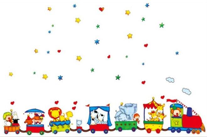 Dětské samolepky na zeď - Vláček Cirkus