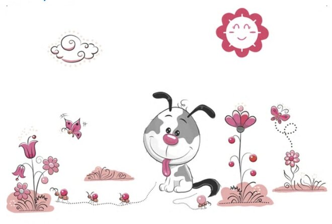 Dětské samolepky na zeď - Pejsek štěňátko