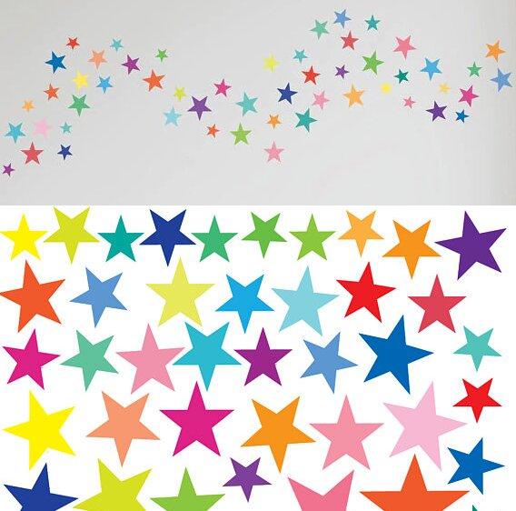 Dětské samolepky na zeď - Barevné hvězdičky 168 ks