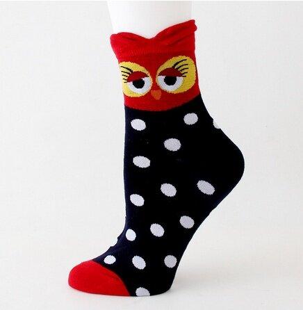 Ponožky se sovami - černočervená