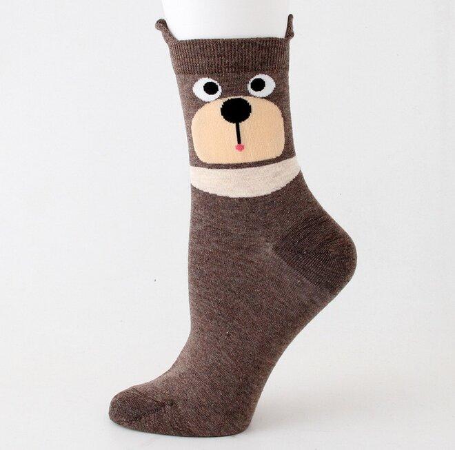 Ponožky s medvědy - hnědá