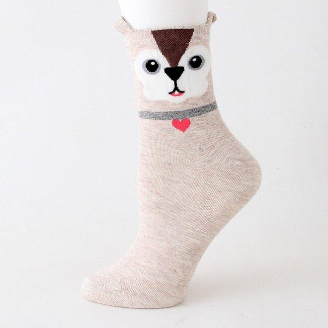 Ponožky s pejsky - béžová