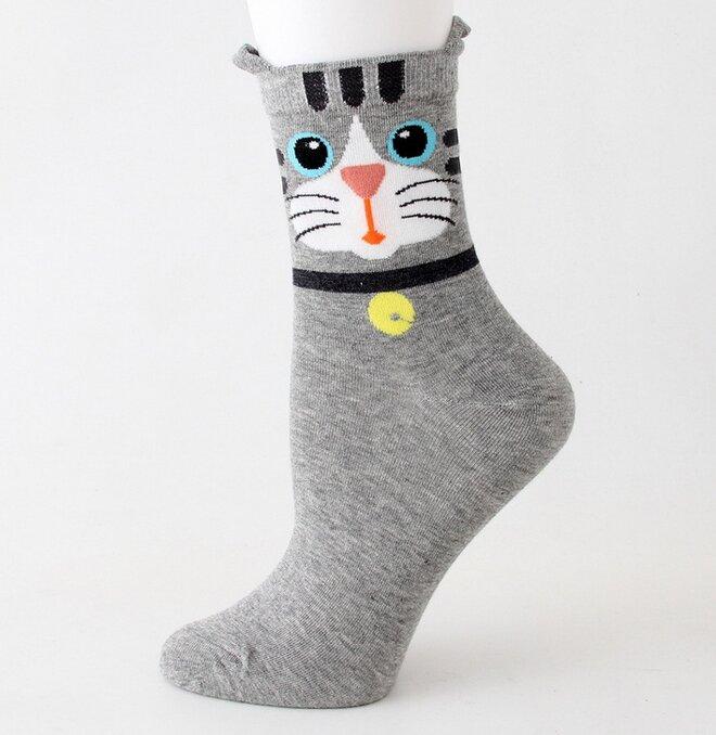 Ponožky s kočkami - šedá