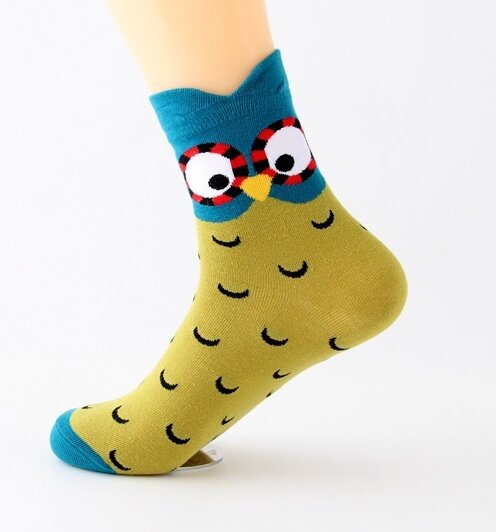 Ponožky se sovami - zelenotyrkysová