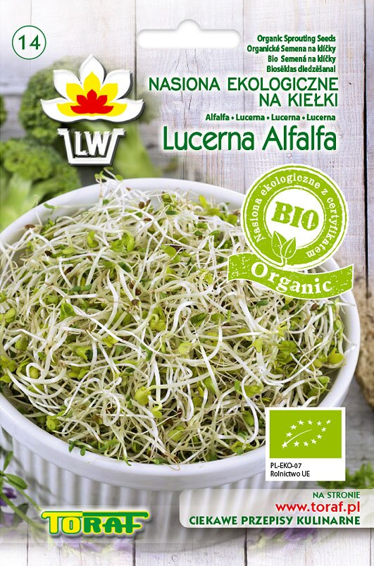 Lucerna setá (vojtěška) semena na klíčky v biokvalitě, 20 g