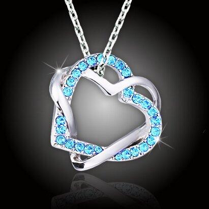 Propletená srdce s akvamarínově modrými krystaly