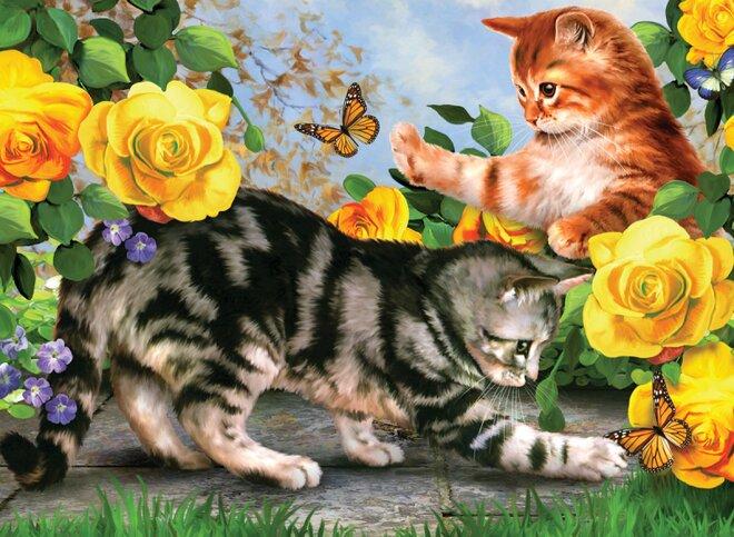 Malování podle čísel – Koťata na zahradě