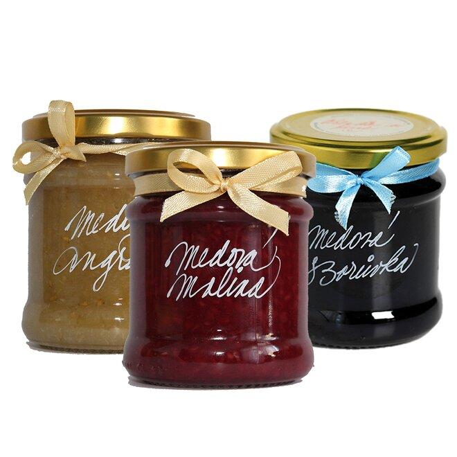 Medové džemy (medová borůvka, medová malina, medový angrešt)