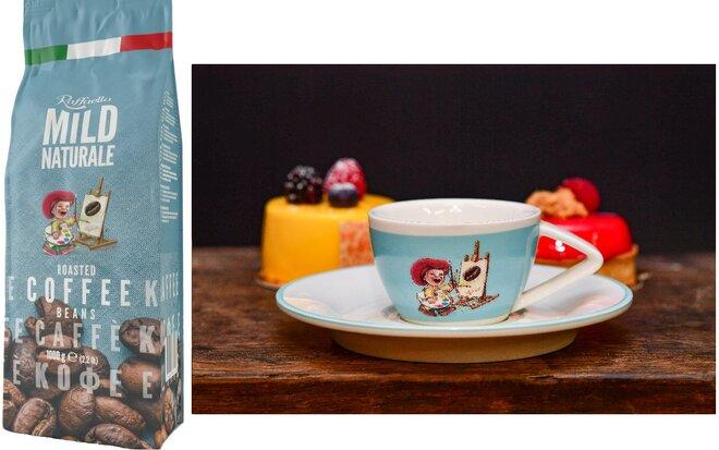 Zrnková káva Blend Raffaello Mild se šálkem Light Blue (80 ml)