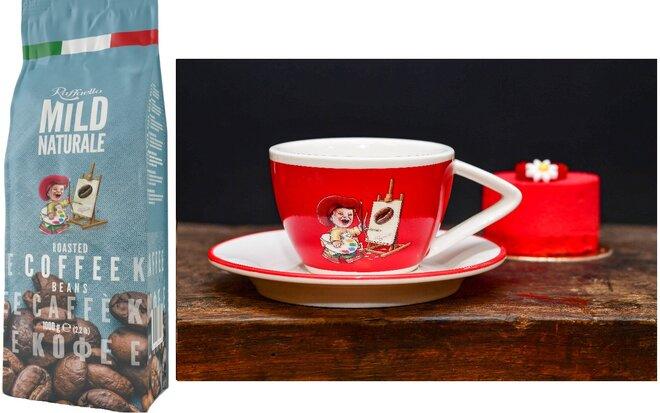 Zrnková káva Blend Raffaello Mild se šálkem Red (160 ml)
