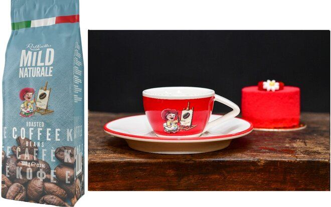 Zrnková káva Blend Raffaello Mild se šálkem Red (80 ml)